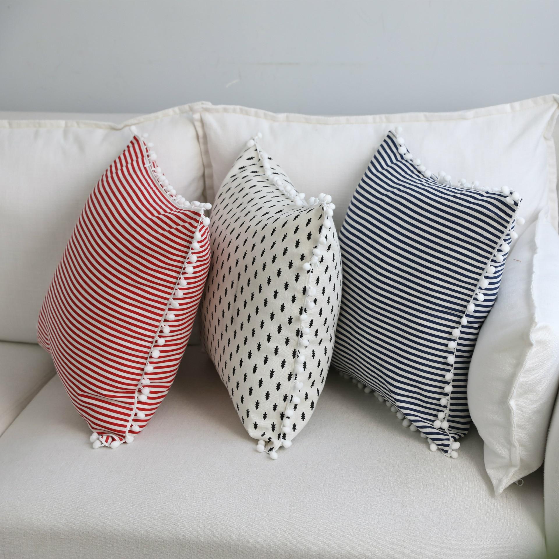 Home Simple Decorative Pillowcases Sweet Style Pom Tassel Dot Pillow Cases Cotton Linen Cover Home Party Hotel Textile 45cm*45cm