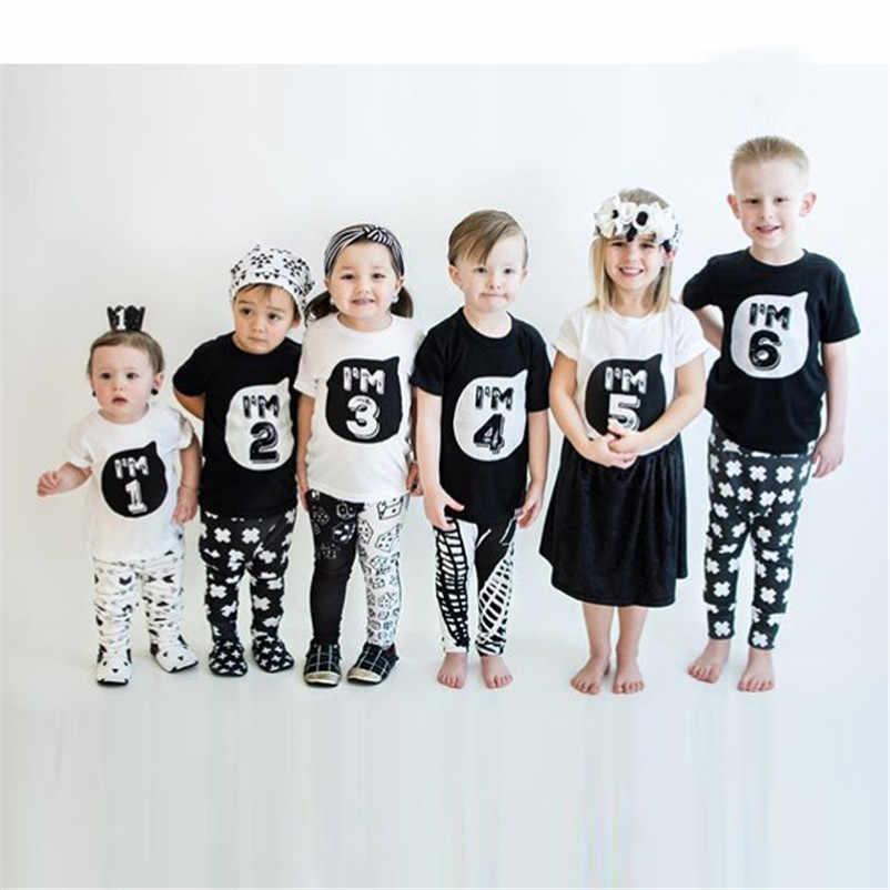 เด็กฝ้ายเสื้อยืดผม 1 2 3 4 5 6 ปีเด็กหญิงวันเกิดของขวัญฤดูร้อนเสื้อผ้าเด็กเด็กวัยหัดเดินเด็กทารกเสื้อT