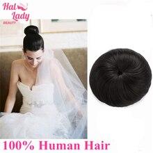 Hairpiece Ponytail Human-Hair Real Halo Chignon Lady Wig Bun Bun-Updo Donut Drawstring