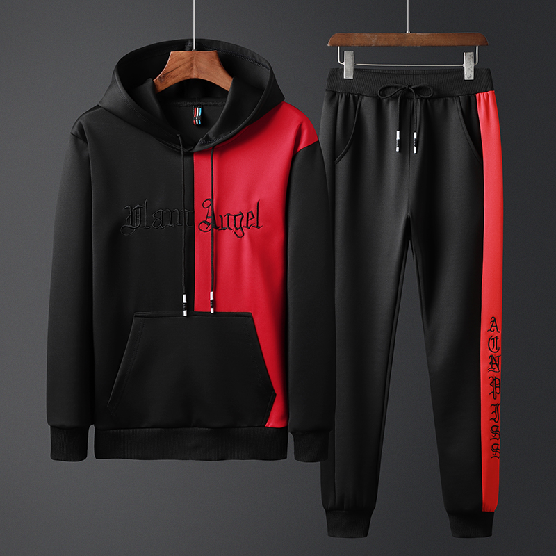 Fashion Men's Set Clothing Hoodies+Pants Sets Sweatshirt Polyester Casual Patchwork Tracksuit Men Hot Sale Brand 2 Pieces