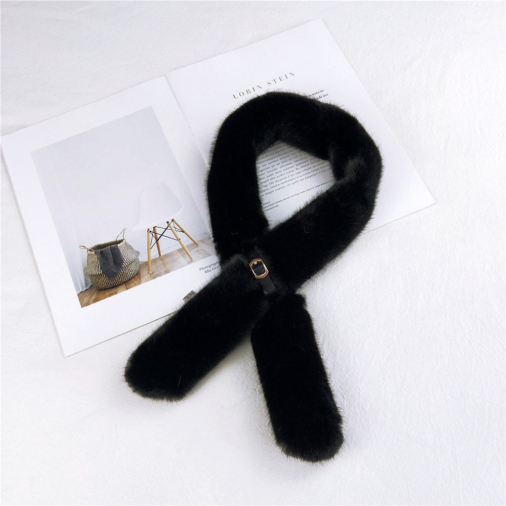 2020 New Winter Solid Color Black Soft Thick Faux Fur Collar Scarf Ladies Neck Warmers Scarfs For Women Bufandas Invierno Mujer