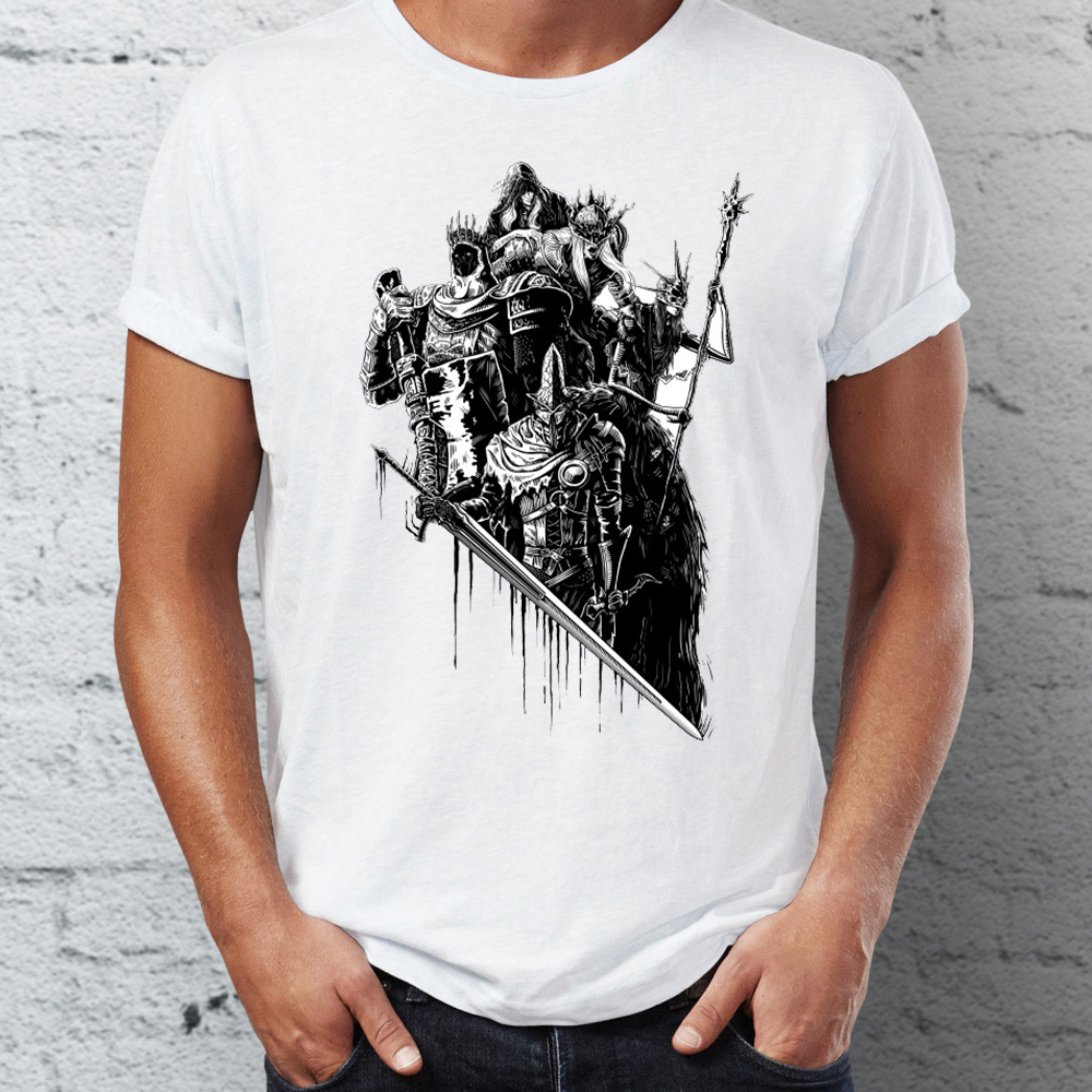 Men's T Shirt Dark Souls Lords Of Cinder Gaming Black And White Tee