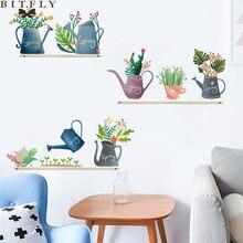Скандинавские зеленые горшечные Стикеры для растений на стену