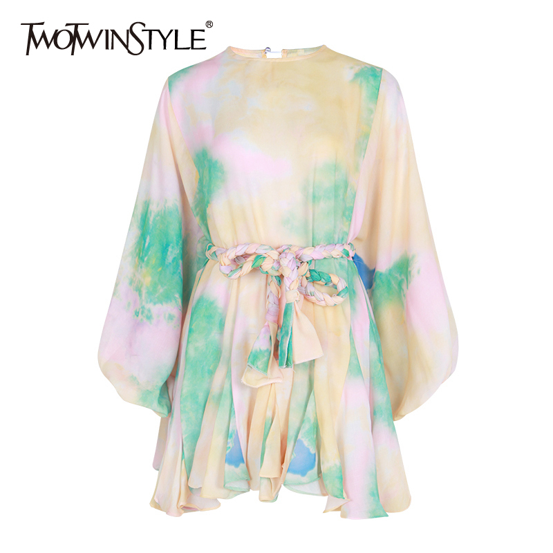 TWOTWINSTYLE Hit Color Print Dresses Women Long Sleeve O Neck High Waist Lace Up Female Dress Spring Casual Fashion 2019 Tide