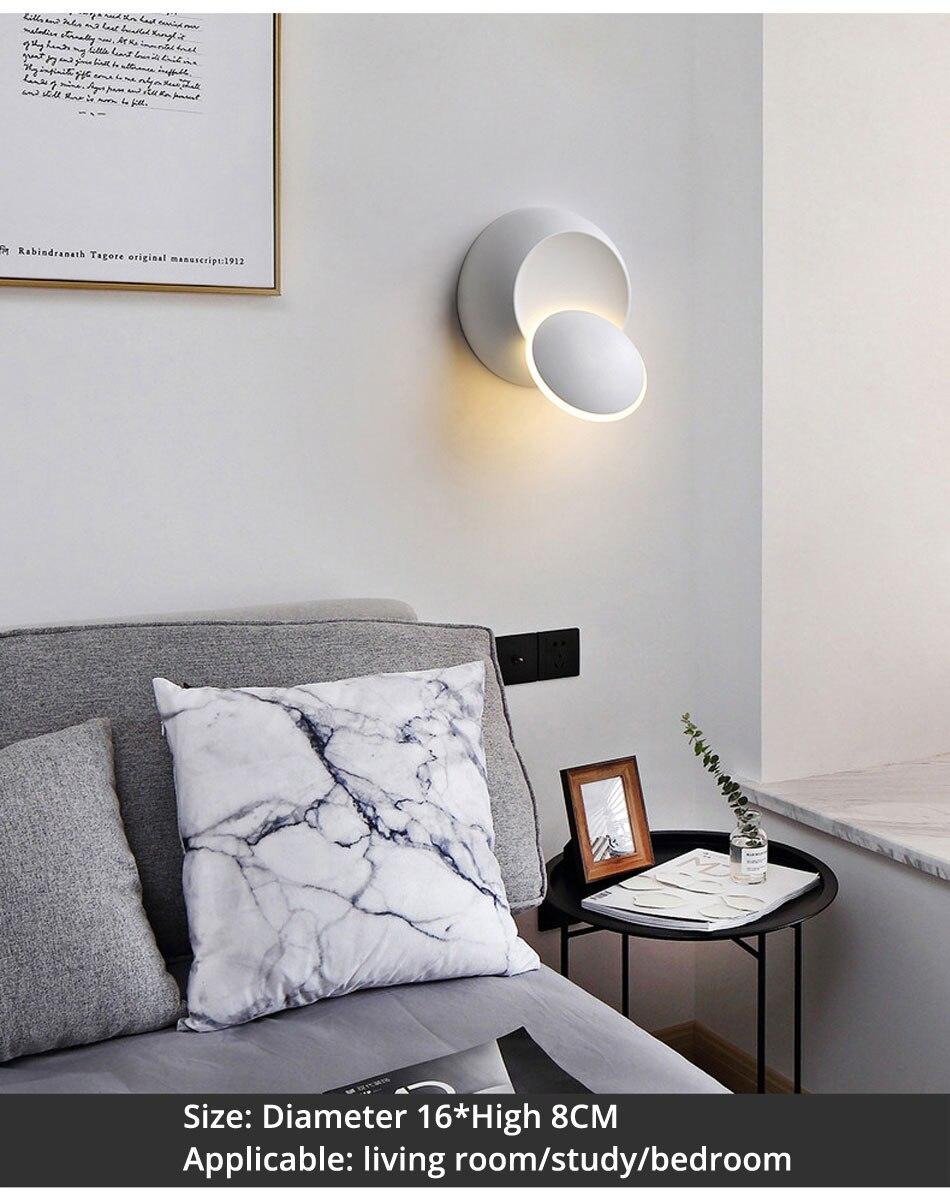 Led lâmpada de parede 360 graus rotação