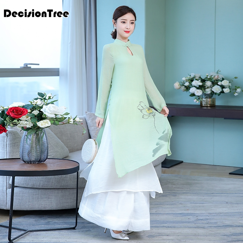 2019 Vietnam Ao Dai Qipao Traditional Dress Qipao Cheongsam Dresses Cotton Linen Robe Chinoise Aodai Pieces Suit