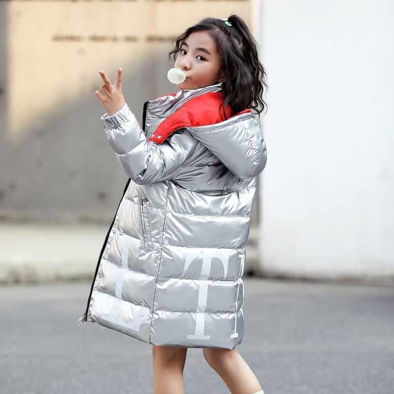 2019 子供冬ウォームホワイトダックダウンジャケット女の子少年服防水高輝度服フード付き子供のためのパーカー