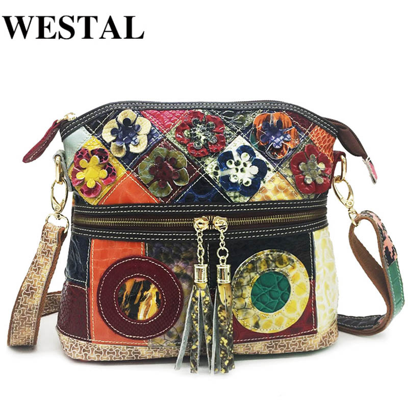 WESTAL Bag For Women Bag Genuine Leather Patchwork Shoulder Bags With Tassel Female Crossbody Messegeer  Bags Women Small  Flap