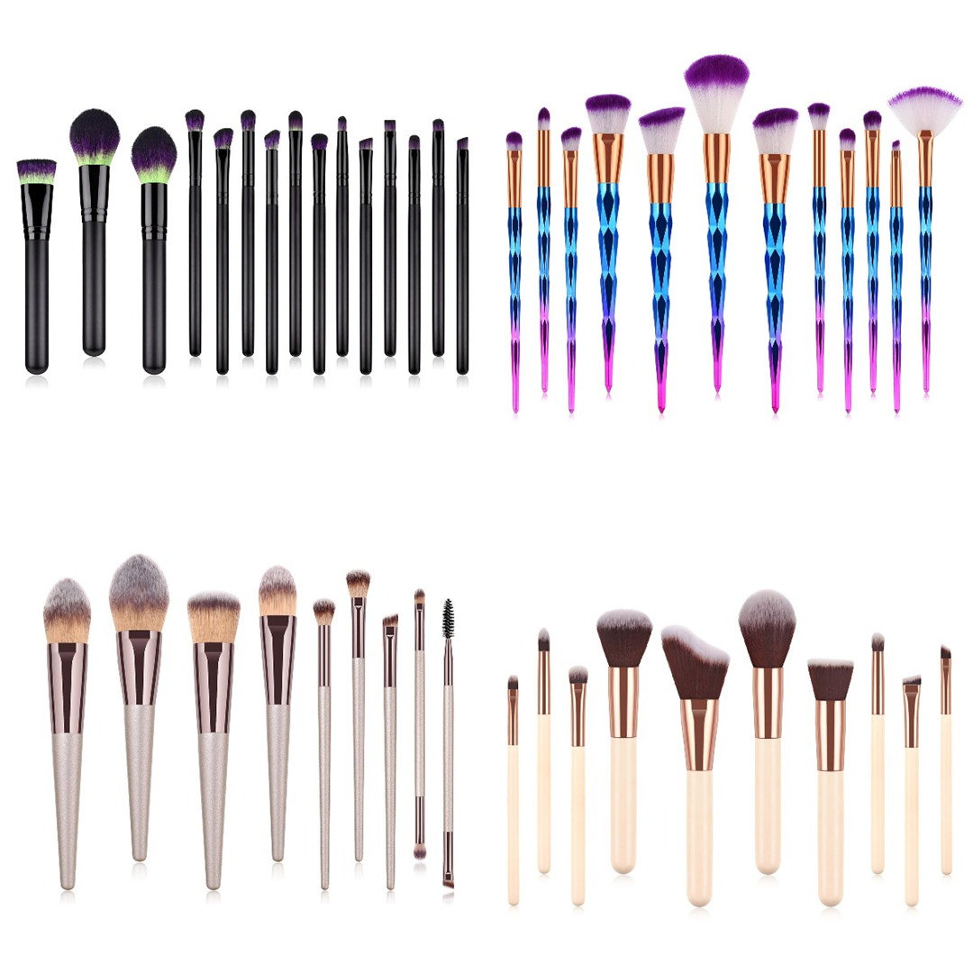 17/15/14/11/9PCS Neon Makeup Brushes Professional Powder Foundation Eye Blending Contour Makeup Brushes Set Nylon Hair Brush