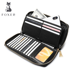 Image 2 - FOXER Women Cow Leather Wallet Female Long Clutch Bags with Wristlet Lady Card Holder Wallets Coin Purse Cellphone Bag 256001F
