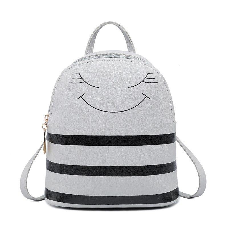 Girl Satchels Character Zipper Headphone Hole Backpack Slung Shoulder Bags Mobile Phone Purse 2019