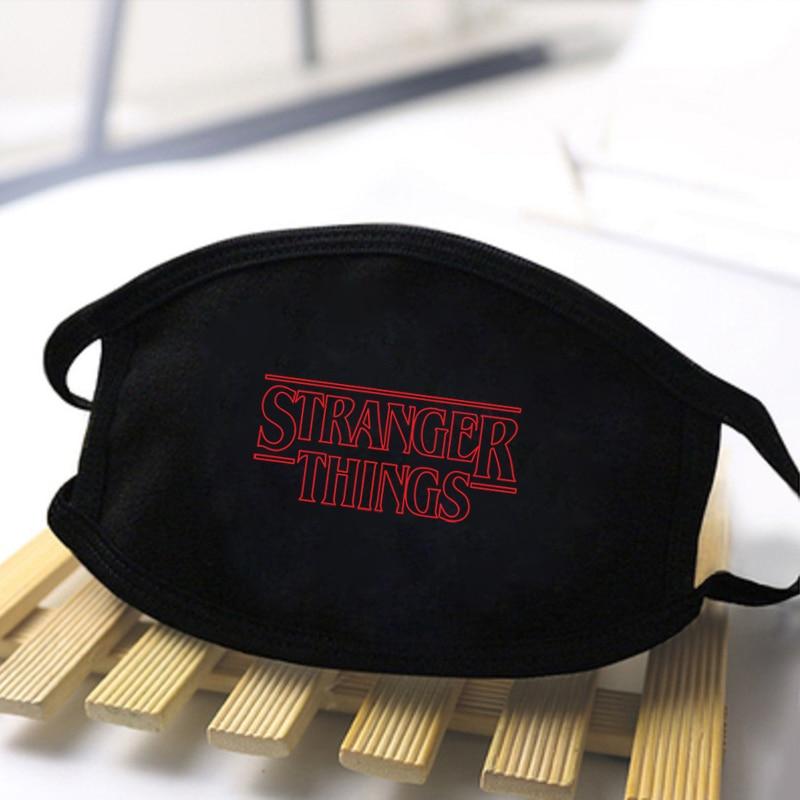 Unisex Stranger Things Print Masks Dustproof Mouth Muffle Masks High Quality Washable Reusable Black Mask Fashion Polyester Mask