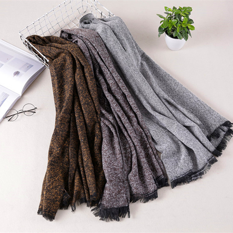 2017 Autumn And Winter New Style Western Style Faux Cashmere Solid Color Dotted Warm Tassels Scarf For Both Men And Women A Gene