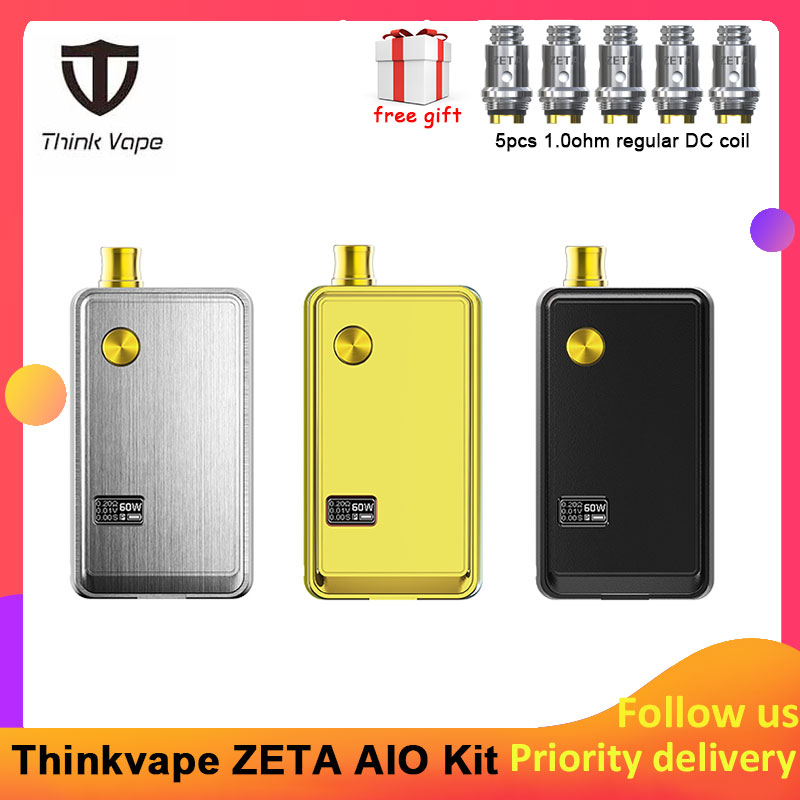 Pre-order Think Vape ZETA AIO 60W Pod Kit Powered By Single 18650 Battery Box Mod 3ml Tank E-cigarette Big Smoke Atomizer