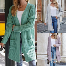 New Fashion Winter Warm Cardigan Pockets Women Solid Color Knitted Sweater Tunic Crochet Ladies Sweaters Outwear Coat