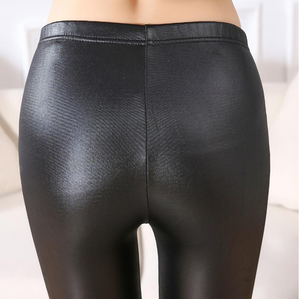 #40 pantalones vaqueros de imitación de cuero 2019 Pantalones vaqueros de moda para mujer ajustados de cintura alta para mujer