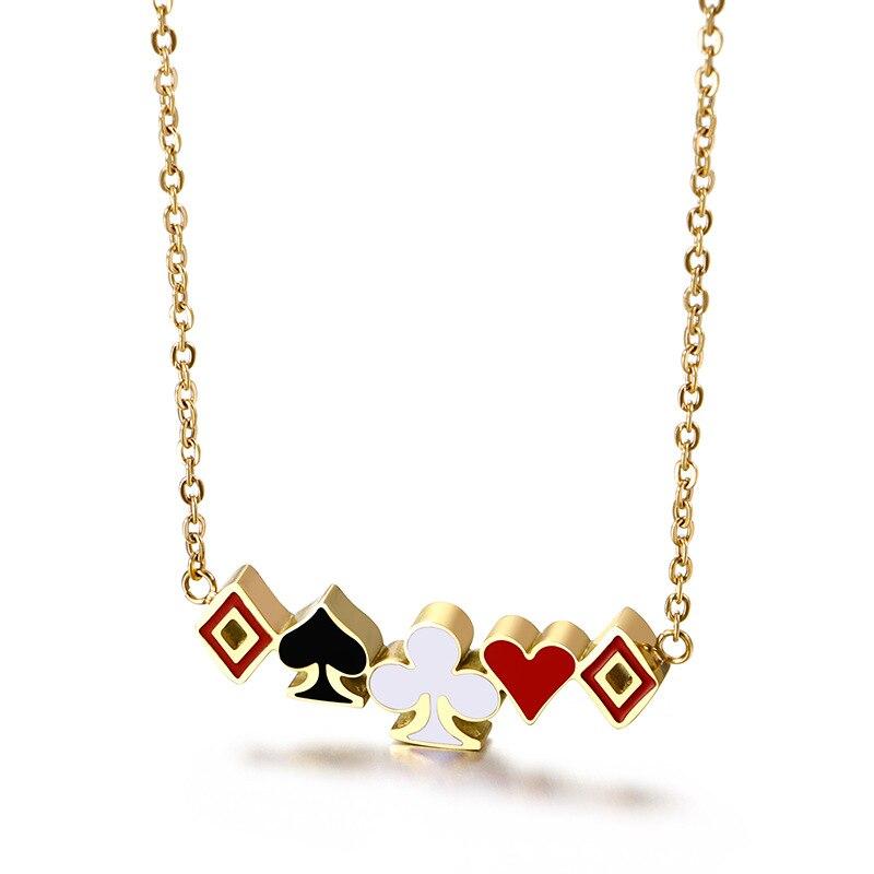 Lucky Ace of Spades квадратная Слива женское ожерелье золотой покерный кулон для женщин из нержавеющей стали казино удача Фортуна игральные карты