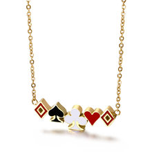 Lucky Ace of Spades Square Plum Womens Necklace Gold Poker Pendant for Female Stainless Steel Casino Luck Fortune Playing Cards