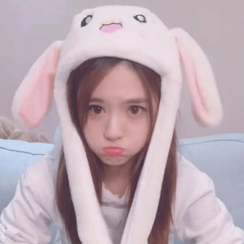 2019 Fashion Hot Sale Winter Cute Cartoon Rabbit Earflap Hat Acting Cute Girls Flannel Air-bag Ear-lifting Cap Toy