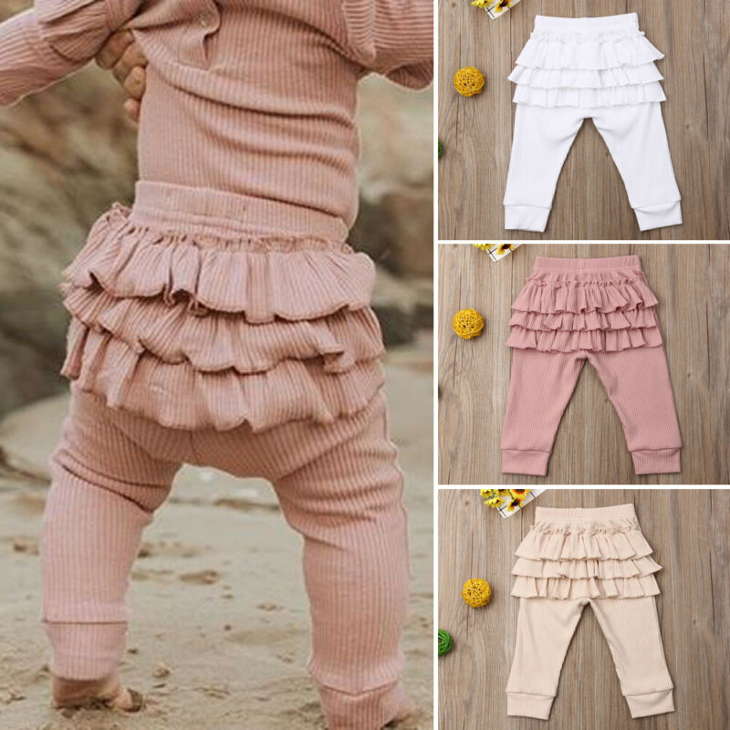 Cute Newborn Baby Girls Leggings Autumn Winter Infant Princess Lovely Solid Ruffle Trousers Toddler Casual Cotton Pants Clothes