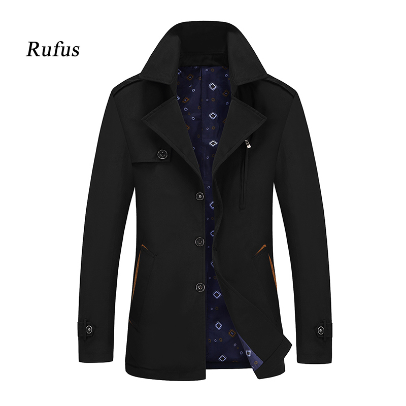 Trench-Coat Spring Autumn Jacket Windbreaker Fashion Mens Slim And Solid