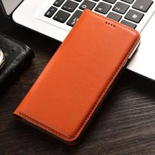 Luxurious Litchi Grain Genuine Leather Flip Cover Phone Skin Case For Vodafone Smart Prime 6 7 Cell