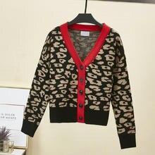 Осень-зима, корейский женский темперамент, v-образный вырез, модный Леопардовый цвет, сочетающийся вязаный кардиган, пальто, свитер