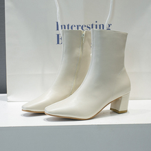Brand White Boots Women 2019 New Elegant Womens Ankle Sexy High Heels Winter Autumn Leather Black