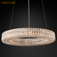Round Crystal Vintage Chandelier Lighting LED Modern Minimalist Cristal Lustre Hanging Lamp for Indoor Living Room Home Hotel