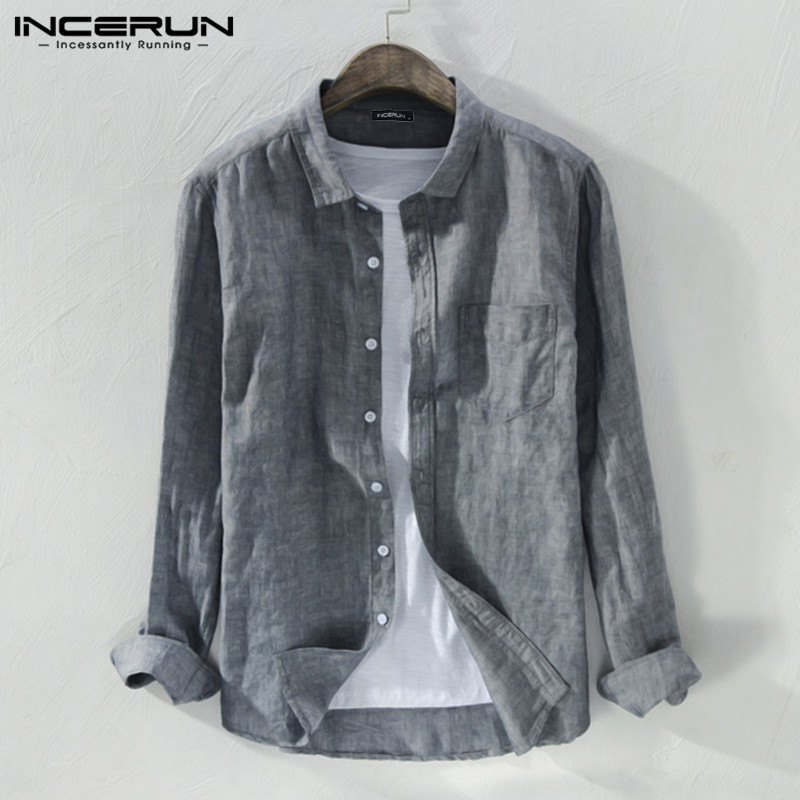 INCERUN 2019 Men's Shirt Lapel Solid Color Art Button High Quality Long Sleeve Small Fresh Literary Casual Men's Fashion Shirt