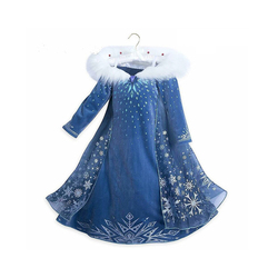 Fancy Girls Dress Princess Elsa Cosplay Dress with Snow Textile Printing Frozen 2 Princess Costumes for Children Birthday Gift