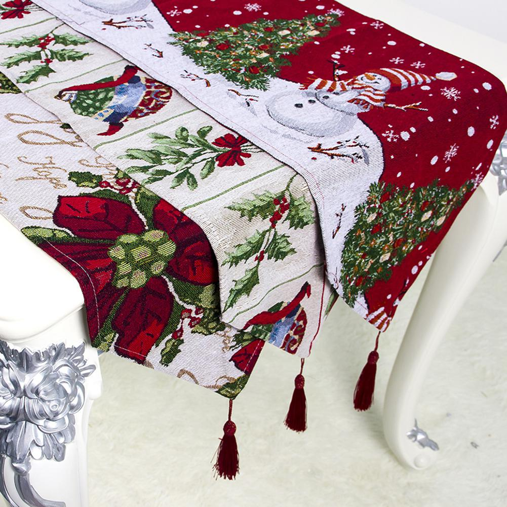 180X34CM Christmas Printing Table Runners Mat Dinning Table Decoration Napkin Christmas Table Decorations For Home Party Decor