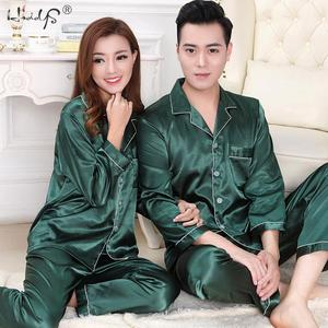 Image 2 - Новинка, пижамный комплект для пар, длинная и короткая Пижама на пуговицах, костюм для женщин и мужчин, домашняя одежда, Женский пижамный комплект
