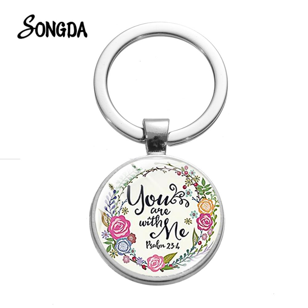 Bible Verse Keychain You Are With Me Psalm 23:4 Glass Round Pendant Bible Quote Faith Key Chain Christian Christmas Gifts