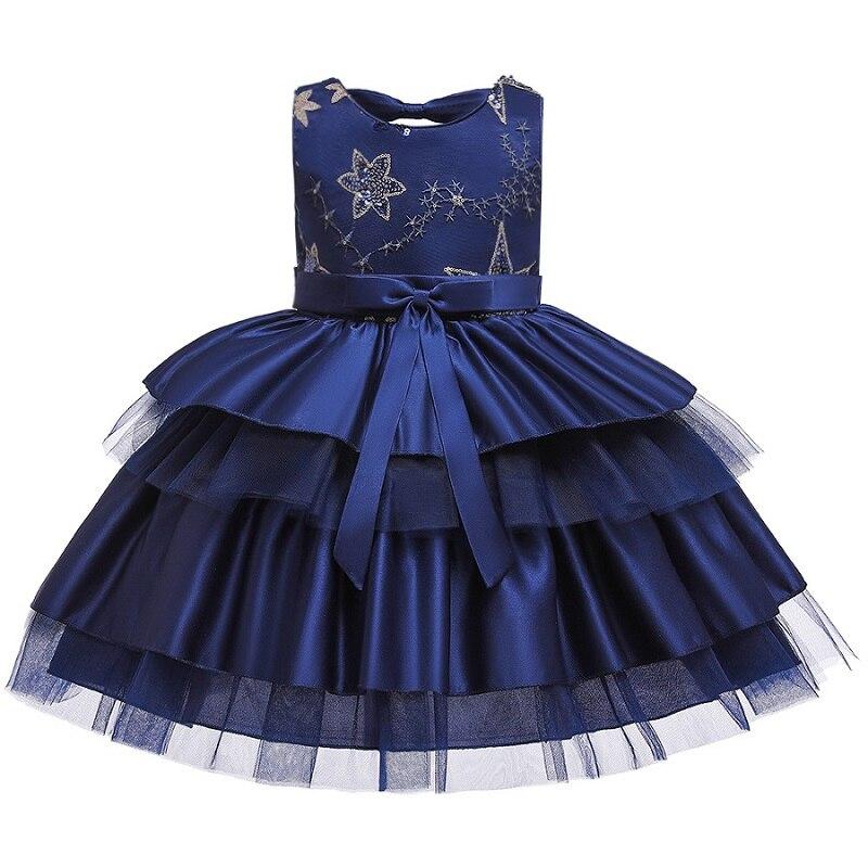 Вечерние платья с вышивкой для девочек; свадебные вечерние платья для девочек с цветами и бусинами; Детский карнавальный костюм Pengpeng - Цвет: navy blue