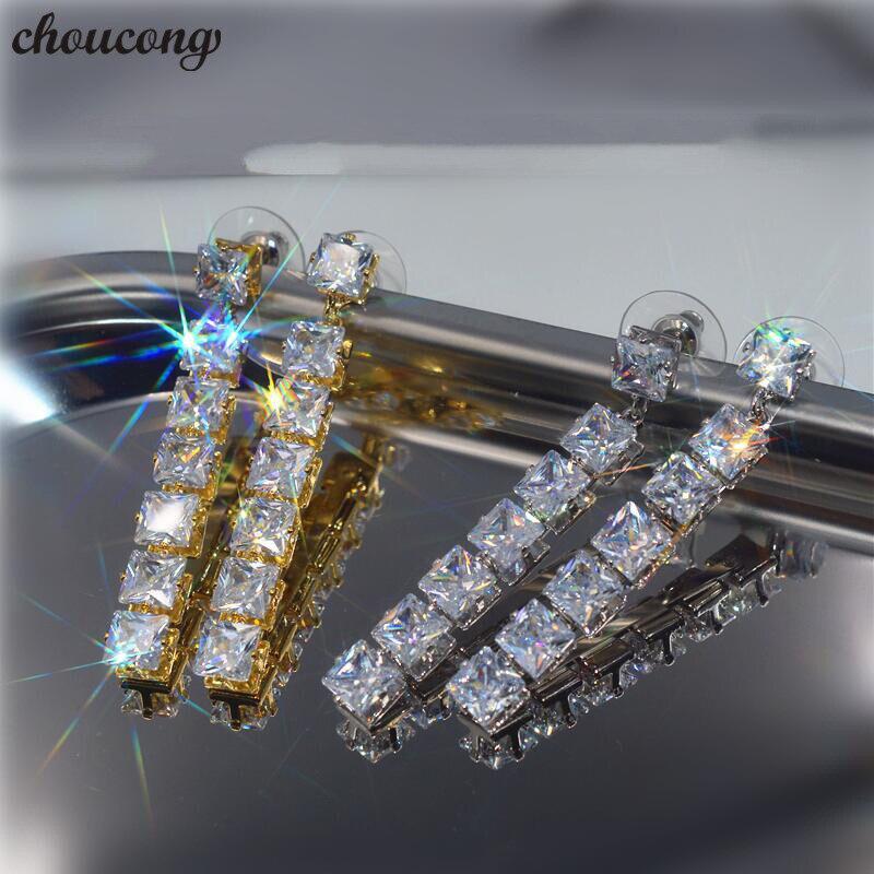 Choucong étoile lune goutte boucles d'oreilles AAAAA cz réel 925 en argent Sterling fête mariage boucles d'oreilles pour les femmes déclaration bijoux