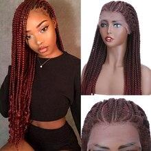Perruque Lace Front Wig synthétique tressée – s-noilite, perruque avec Baby Hair, 30 pouces de Long, partie latérale, 55 tresses, pour femmes, usage quotidien