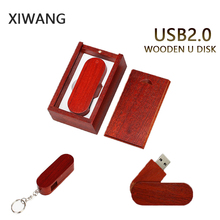 XIWANG laser custom company LOGO rotating wood usb2.0 4GB 8GB 16GB 32GB 64GB wooden rotary USB flash drive Pendrive wedding gift
