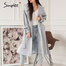 Simplee Elegant light grey autumn winter female long coat Office ladies wool blend overcoat Causal pocket fashion coat jacket