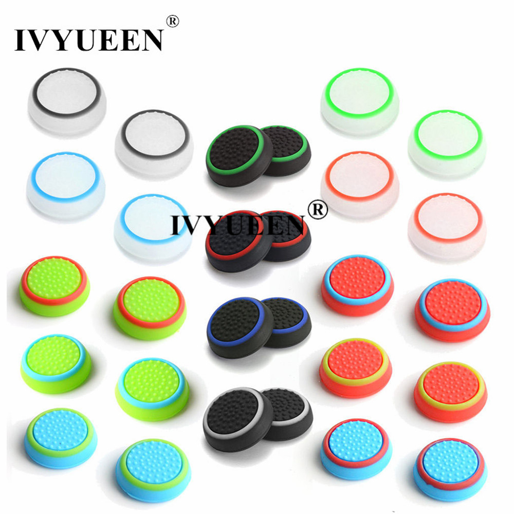 IVYUEEN 4 Pcs Analog ThumbSticks Grips Cover for Sony PlayStation 5 4 PS5 PS4 Pro Slim Controller Joystick Caps for Switch PRO