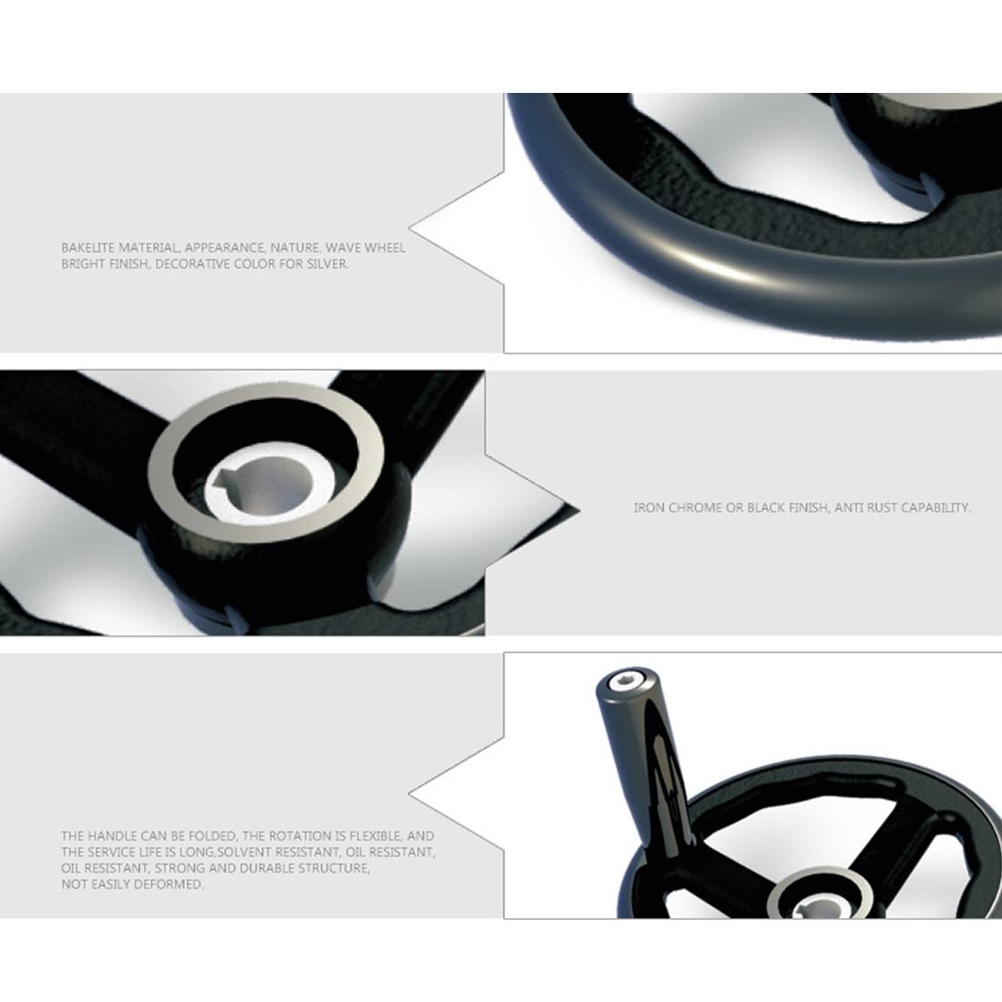 250 /× 25mm 3 Spoked Milling Hand Wheel Bakelite Plastic Insulation Lathe Handwheel Anti-Slip with Handle for Machine Tool Hand Wheel