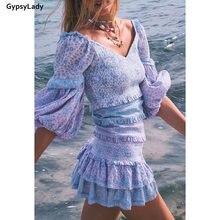Женское винтажное мини платье gypsylady фиолетовое элегантное