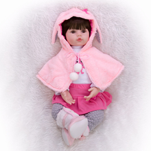 KEIUMI Adorable Silicone Reborn Baby Girl Doll 48cm Charming Reborn Boneca Rabbit Toddler Wear cloak For kids Birthday Playmate