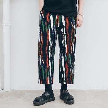 Tradycyjne chińskie spodnie w paski wzór luźna bawełniana Casual spodnie Streetwear orientalna odzież męska chińskie spodnie Man 11053 tanie i dobre opinie Tangslady COTTON Suknem