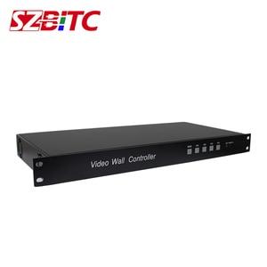 Image 4 - SZBITC 3x3 Video duvar denetleyicisi HD Splitter 1 9 out DVI VGA USB ses Video duvar işlemcisi 180 döndür uzaktan kumanda ile