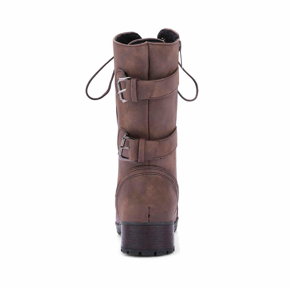 2020 yeni büyük boy 43 sonbahar kış ayakkabı bağcığı moda tıknaz topuklu kadın ayakkabı kadın eğlence orta buzağı çizmeler kadın ayakkabısı çizmeler