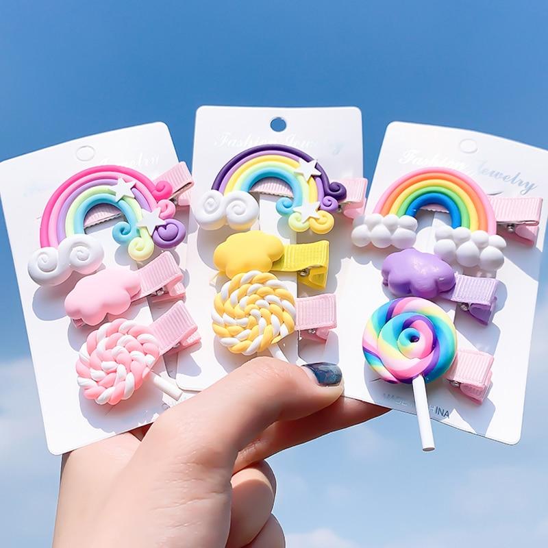 New Cute Rainbow Hair Clips For Girls Colorful Lollipop Hairpins Cartoon Cloud Barrettes Hairclip Set Children Hair Accessories
