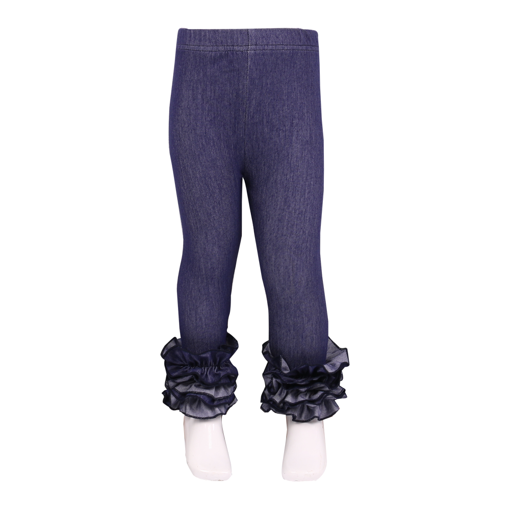 Denim Icing Ruffle Leggings Girls Long Boutique Pants Baby Clothing Cotton Elastic Waist Pants for girls full length