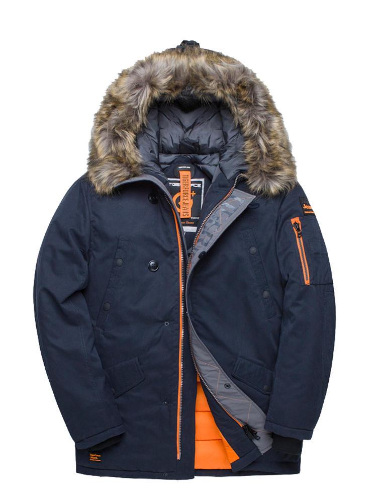 Winter Jacket Padded Parkas Tiger-Force Big-Pockets Artificial-Fur Men Thick Man Medium-Long