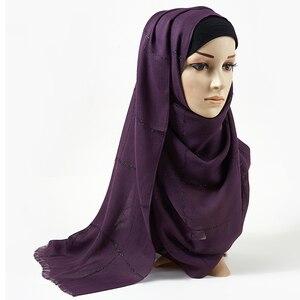 Image 1 - SHINNY גליטר מוסלמי ארוך מוסלמי hwrap טורבנים צעיפים/צעיף רגיל שמר מקסי כותנה צעיף חיג אב מוצק מצויצים